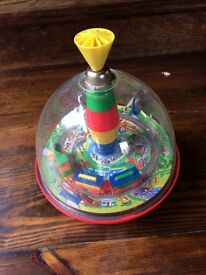 vintage toy push down spinning top 70s 80s