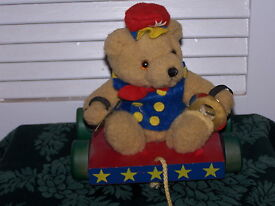 vtg cymbal holding gold teddy bear pull toy