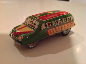 asahi toy vintage tin friction school bus