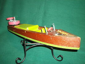 vtg toy boat wind up old tin top wooden