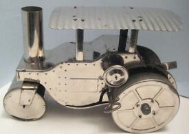 antique tin plate wind up toy steam road