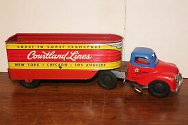 very nice 1950 s tin wind up lines transport
