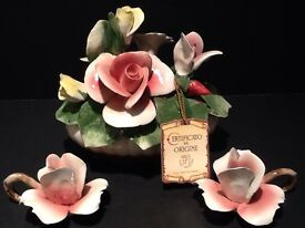 nuova capodimonte italy rose basket with 2