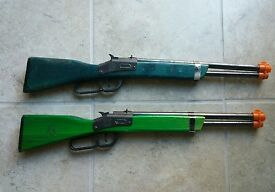 2 vtg blue and green wooden diecast toy
