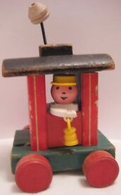 old paper wood pull toy trolley huffy puffy