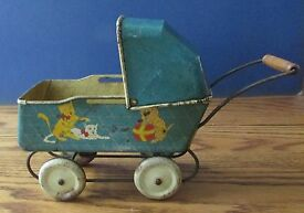 antique tin metal doll stroller carriage