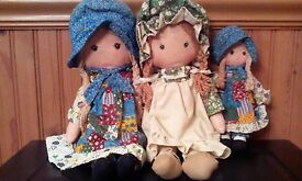 lot 3 vintage holly hobby heather dolls
