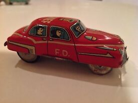 asahi toy vintage tin friction fire chief