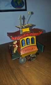 old antique 1922 toy trolley wind up