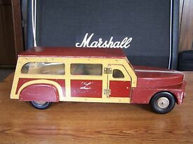 vintage buddy l wooden station wagon wwii