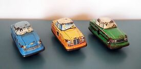 vintage tin lithograph w german wind up cars