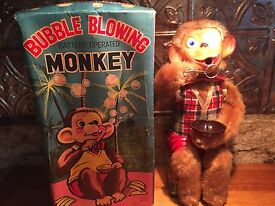 working vintage bubble blowing monkey