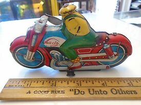 antique tin toy mansei harley lady driver