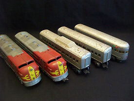 marx electric train twin diesel santa fe 50