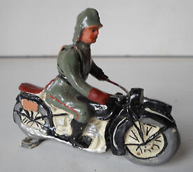 elastolin german soldier wwii motorcycle