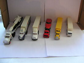 lot of six diecast tractor trailers road