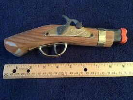vintage toy cap gun wooden pistol made in