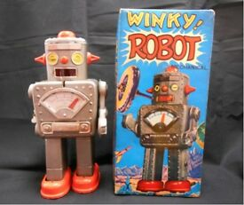 tin toy mainspring tin 1950s winky robot