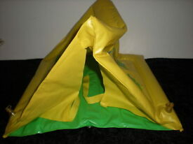 1970s vtg tent yellow inflatable for barbie