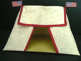 vintage barclay tent with american flag for