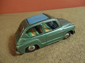 vintage tin friction fiat 600 w retractable