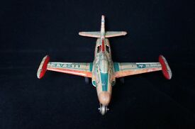 rare wind up tin toy airplane f 94b japan
