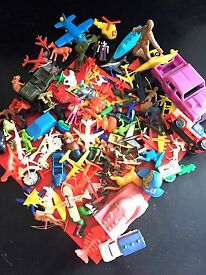 hard plastic toy soldiers airplanes trucks