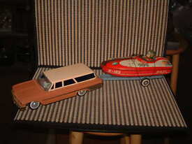 bandai tin b o station wagon w trailer boat