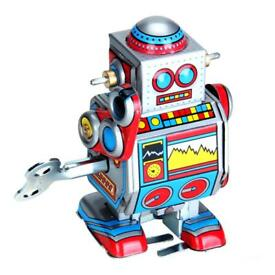 vintage tin toy wind up robot meccanica