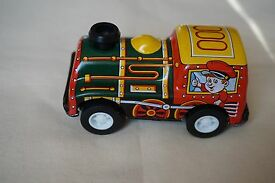 new vintage y metal tin toy friction train