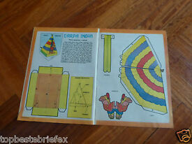 vintage paper toy cut out indian native tent