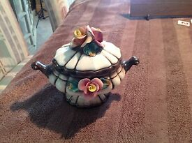 vintage capodimonte covered dish with raised
