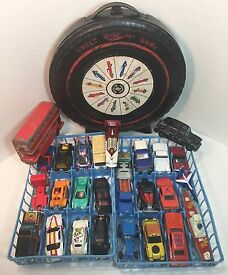 vintage lot of 27 matchbox hotwheels case