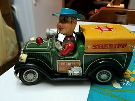 nomura sheriff 1 tin car vintage japan