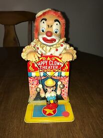 happy clown theater yonezawa tin litho toy