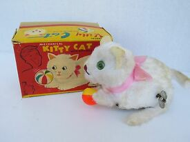 japan vintage wind up kitty cat with begging
