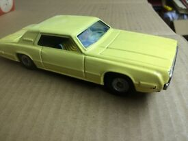 vintage tin toy ford yellow thunderbird