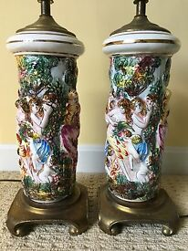 set of 2 table lamps raised 3d women in