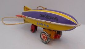 tin litho toy zeppelin ornament made in