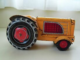 vintage toy tractor friction tin made in