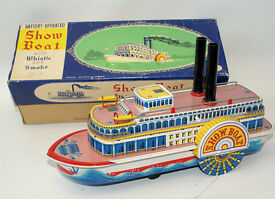 vintage 50 s tin steam show boat 3200 paddle
