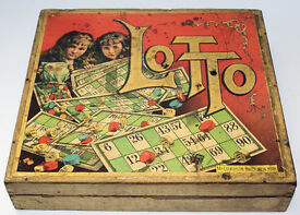 antique victorian era 1895 game of lotto by