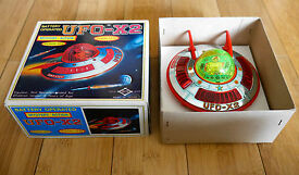 vintage ufo x2 tin plate space craft toy