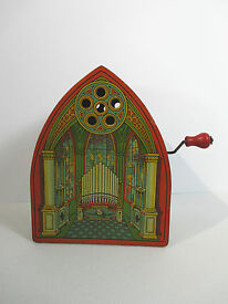 j tin litho toy chruch cathedral crank organ