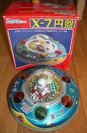 vintage ufo x 5 tin plate space ship toy