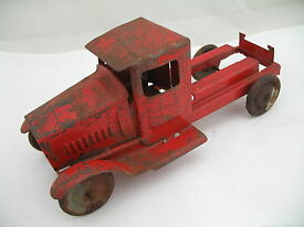 dump truck partial pressed steel red