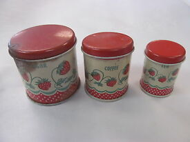 vintage childs tin red strawberries 3pc