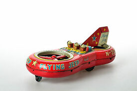 antique tin toy asahi flying jeep race car