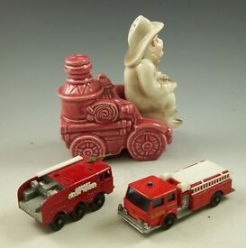 box lot of fire toys trucks salt pepper