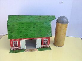 marx happy time tin 1950s farm playset silo